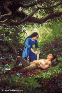 Lúthien Tends Beren's Wound  by Ted Nasmith.