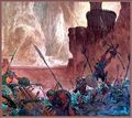 Michael Kaluta - The First Stroke of Lightning at Helm's Deep.jpg