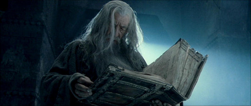 File:The Lord of the Rings - The Fellowship of the Ring - Gandalf reading the Book of Mazarbul.jpg