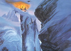 The battle between Gandalf and Durin's Bane atop Celebdil as depicted by John Howe.