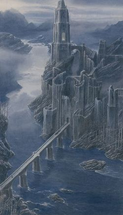 Alan Lee - On the bridge of woe, in mantle wrapped at dead of night, she sat and sang.jpg